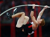 Shawnacy Barber of Canada competes in the Men's Pole Vault final during day three of the 15th IAAF World Athletics Championships Beijing 2015 at Beijing National Stadium on August 24, 2015