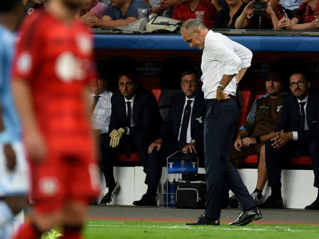 Lazio's headcoach Stefano Pioli reacts during the UEFA Champions League playoff football match between Bayer Leverkusen and SS Lazio, in Leverkusen, western Germany, on August 26, 2015