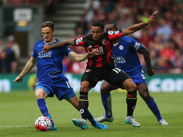 Callum Wilson of Bournemouth and Andy King of Leicester City compete for the ball during the Barclays Premier League match between A.F.C. Bournemouth and Leicester City at Vitality Stadium on August 29, 2015