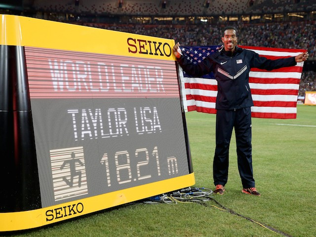 Gold medalist Christian Taylor of the United States celebrates after the Men's Triple Jump final during day six of the 15th IAAF World Athletics Championships Beijing 2015 at Beijing National Stadium on August 27, 2015