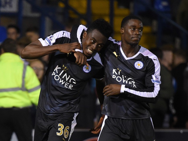 Joseph Dodoo of Leicester City celebrates his hat trick with Jeffrey Schlupp during the Capital One Cup second round match between Bury and Leicester City at Gigg Lane on August 25, 2015