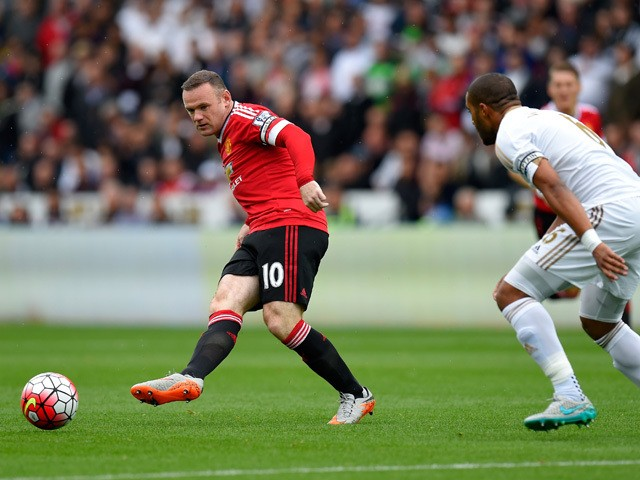 Manchester United player Wayne Rooney in action during the Barclays Premier League match between Swansea City and Manchester United on August 30, 2015