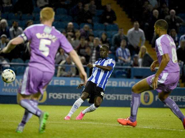 Modou Sougou of Sheffield Wesnesday scores his teams only goal during the Sky Bet Championship match between Sheffield Wednesday and Reading at Hillsborough Stadium on August 19, 2015 in Sheffield, England.