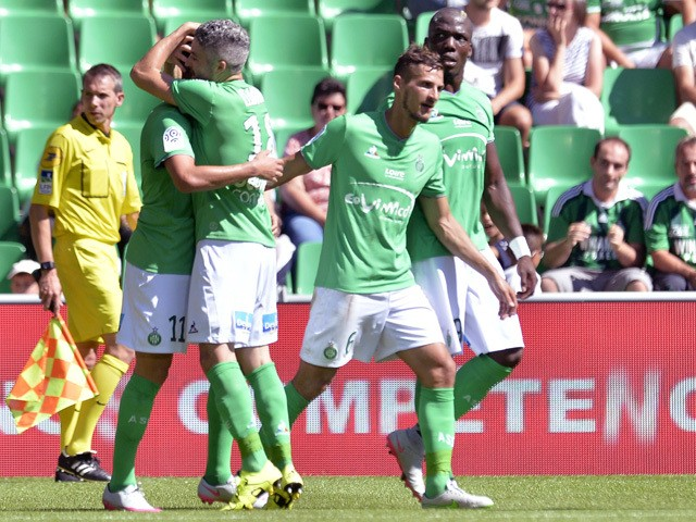 Saint-Etienne's players celebrates after scoring a goal during the French L1 football match between Saint-Etienne (ASSE) and Bastia (SCB) on August 30, 2015