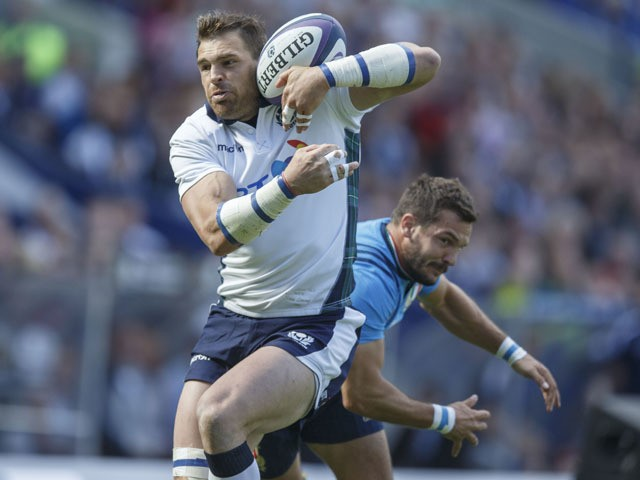 Scotlands Sean Lamont scores during the Scotland v Italy International Rugby match at Murrayfield Stadium on August 29, 2015