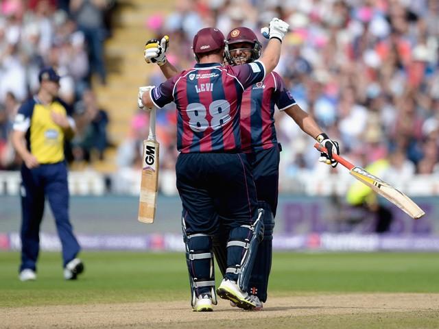 Shahid Afridi and Richard Levi of Northamptonshire celebrate winning the NatWest T20 Blast Semi Final between Birmingham Bears and Northamptonshire Steelbacks at Edgbaston on August 29, 2015
