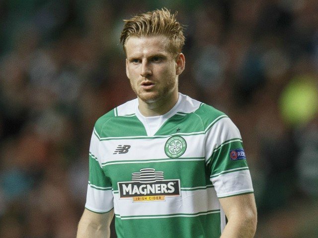 Stuart Armstrong of Celtic in action during the UEFA Champions League Qualifying play off first leg match, between Celtic FC and Malmo FF at Celtic Park on August 19, 2015 in Glasgow Scotland.