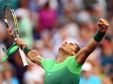 Rafael Nadal exclaims to the heavens after making it through to the third round of the US Open on Septem