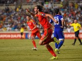 Wales striker Gareth Bale celebrates after scoring the opening goal during the UEFA EURO 2016 Qualifier between Cyprus and Wales at GPS Stadium on September 3, 2015