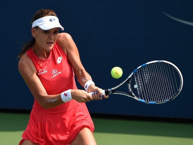 Agnieszka Radwanska of Poland hits the ball to Magda Linette of Poland during their women's singles round two match during the 2015 US Open at the USTA Billie Jean King National Tennis Center September 2, 2015 in New York. AFP PHOTO / TIMOTHY A. CLARY (Ph