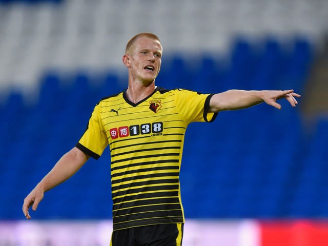 Watford player Ben Watson in action during the Pre season friendly match between Cardiff City and Watford at Cardiff City Stadium on July 28, 201