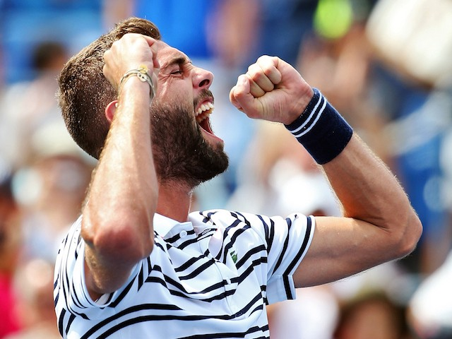 Benoit Paire of France reacts after defeating Kei Nishikori of Japan during their Men's Single First Round match on Day One of the 2015 US Open at the USTA Billie Jean King National Tennis Center on August 31, 2015