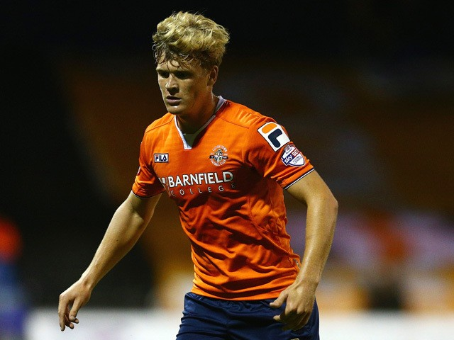 Cameron McGeehan of Luton Town in action during the Capital One Cup second round match between Luton Town and Stoke City at Kenilworth Road on August 25, 2015