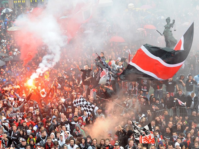 Eintracht Frankfurt's fans celebrate promotion to the Bundesliga on May 06, 2012 in Frankfurt am Main, Germany. (Photo by Arne Dedert - Pool/Getty Images)