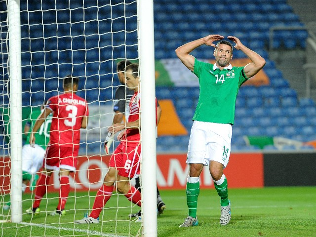 Jon Walters of Republic of Ireland reacts during the UEFA EURO 2016 Qualifier between Gibraltar and Republic of Ireland at Estadio Algarve on September 4, 2015 in Faro, Portugal.