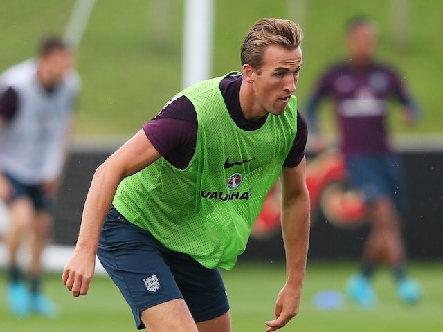 Harry Kane in action during an England training session on September 2, 2015