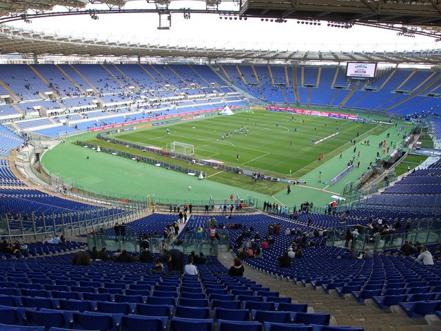 A general view of the empty stands of Stadio Olimpico during the Serie A match between SS Lazio and Atalanta BC at Stadio Olimpico on March 9, 2014