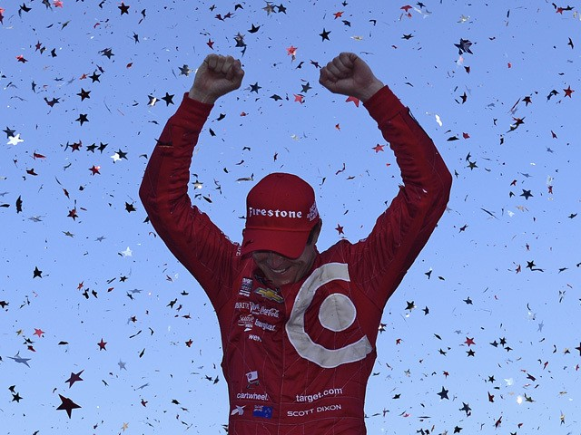 Scott Dixon of New Zealand driver of the #9 Target Chip Ganassi Racing Chevrolet Dallara celebrates winning the IndyCar Championship for the Verizon IndyCar Series GoPro Grand Prix of Sonoma at Sonoma Raceway on August 30, 2015