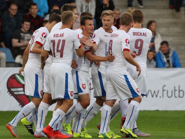 Vladimir Darida of Czech Republic (C) celebrates with teammates after he scored during the Euro 2016 qualifying football match between Latvia and Czech Republic in Riga on September 6, 2015.