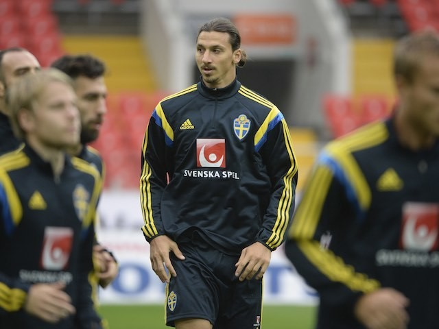 Big Zlatan Ibrahimovic in action during a Sweden training session on September 4, 2015