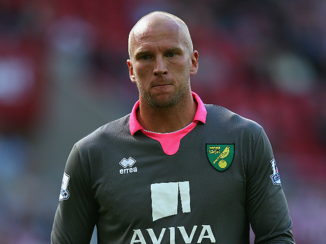 John Ruddy of Norwich City during the Barclays Premier League match between Sunderland and Norwich City at the Stadium of Light on August 15, 2015 in Sunderland, United Kingdom.