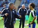 Leicester City assistant manager Craig Shakespeare instructs Shinji Okazaki ahead of the game with Villa on September 13, 2015