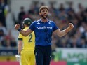 Liam Plunkett celebrates dismissing Mitchell Marsh on September 11, 2015
