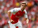 Nacho Monreal of Arsenal in action during the Barclays Premier League match between Arsenal and West Ham United at the Emirates Stadium on August 9, 2015