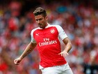 Olivier Giroud of Arsenal in action during the Barclays Premier League match between Arsenal and West Ham United at the Emirates Stadium on August 9, 2015