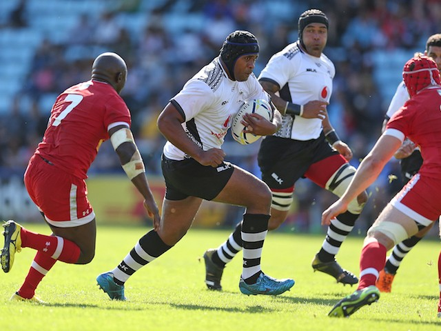 Akapusi Qera of Fiji in action during the International match between Fiji and Canada at Twickenham Stoop on September 6, 2015 in London, England.
