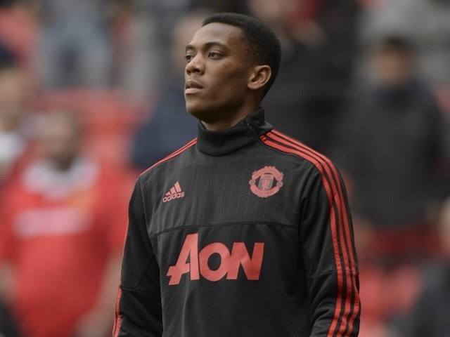 Man Utd's Anthony Martial warms up prior to the game with Liverpool on September 12, 2015