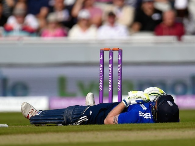 Ben Stokes reacts after taking a blow to the crotch on September 13, 2015