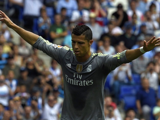 A heavily-tanned Cristiano Ronaldo celebrates scoring for Real Madrid against Espanyol on September 12, 2015