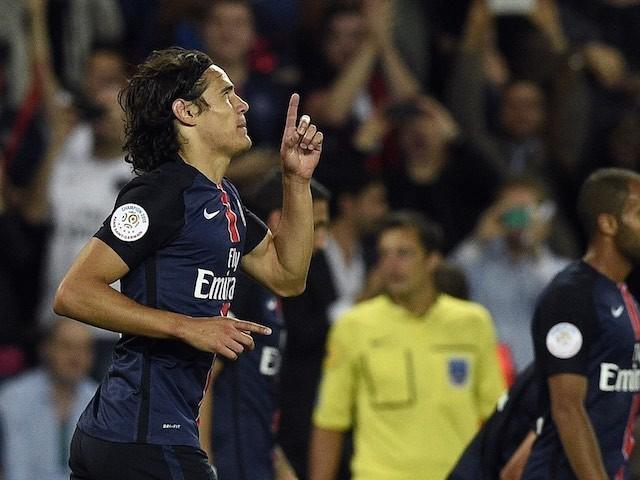 Edinson Cavani celebrates scoring for PSG on September 11, 2015