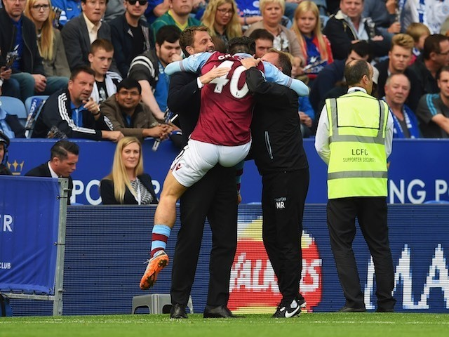 Jack Grealish gives himself a wedgie as he celebrates his goal for Villa against Leicester on September 13, 2015