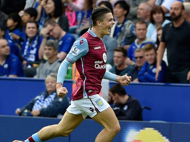 Jack Grealish scores for Villa against Leicester on September 13, 2015