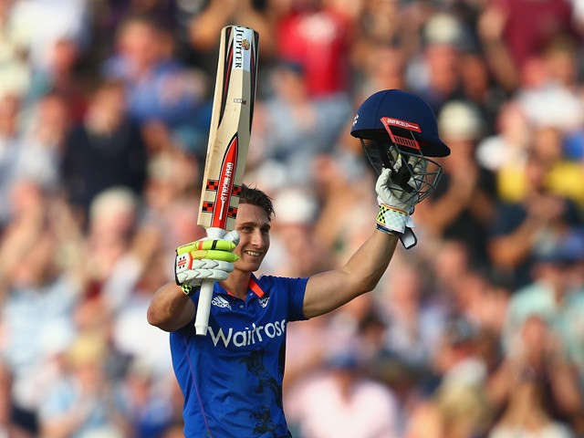 James Taylor of England celebrates his century during the 3rd Royal London One-Day International match between England and Australia at Old Trafford on September 8, 2015