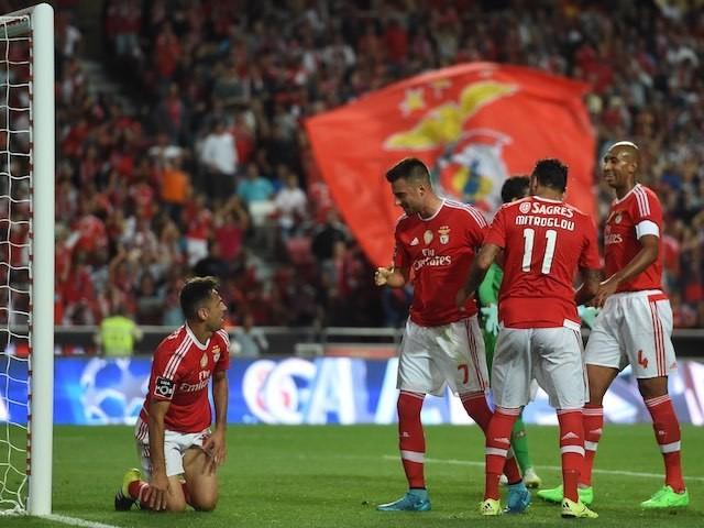 Jonas celebrates scoring for Benfica against Belenenses on September 11, 2015