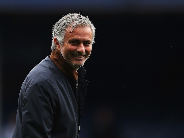 Chelsea boss Jose Mourinho surveys the scene at Goodison Park ahead of his side's match with Everton on September 12, 2015