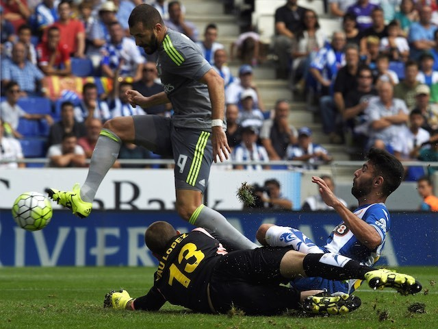 Karim Benzema scores Real Madrid's fourth against Espanyol on September 12, 2015