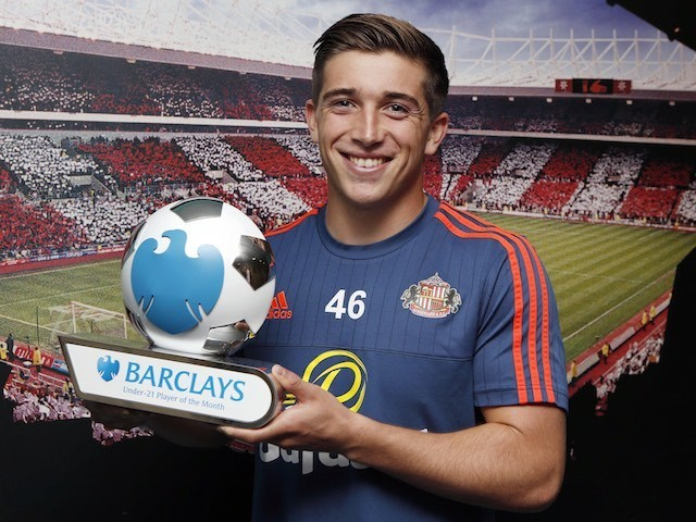 Lynden 'The Goochmeister' Gooch of Sunderland poses with his U21 Premier League player of the month award for August 2015
