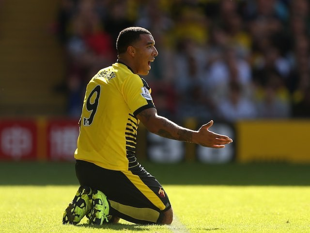 Watford's Troy Deeney appeals during the game with Swansea on September 12, 2015