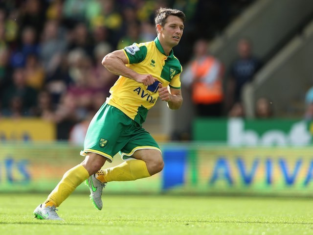 Wes Hoolahan celebrates scoring Norwich's second against Bournemouth on September 12, 2015