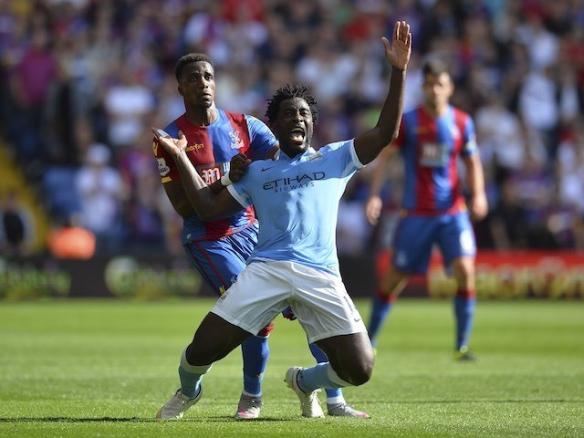 Man City's Wilfried Bony is brought down by Crystal Palace's Wilfried Zaha on September 12, 2015