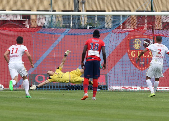 'Fabinho' scores from the penalty spot for Monaco against Gazelec Ajaccio on September 13, 2015