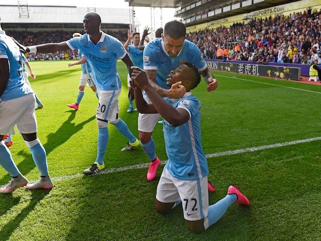 Kelechi Iheanacho celebrates scoring the winner for Man City against Palace on September 12, 2015