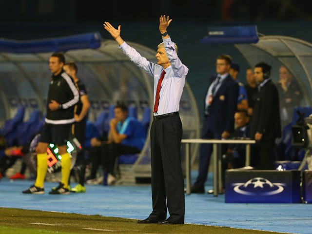 Arsene Wenger, manager of Arsenal reacts during the UEFA Champions League Group F match between Dinamo Zagreb and Arsenal at Maksimir Stadium on September 16, 2015