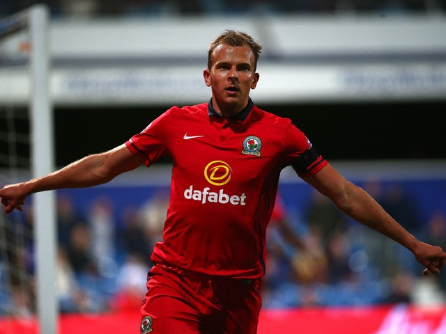 Blackburn's Jordan Rhodes celebrates after scoring his team's second goal of the game during the Sky Bet Championship match between Queens Park Rangers and Blackburn Rangers at Loftus Road on September 16, 2015