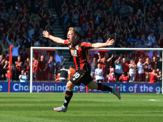 Matt Ritchie of Bournemouth celebrates scoring his team's second goal during the Barclays Premier League match between A.F.C. Bournemouth and Sunderland at Vitality Stadium on September 19, 2015 in Bournemouth, United Kingdom