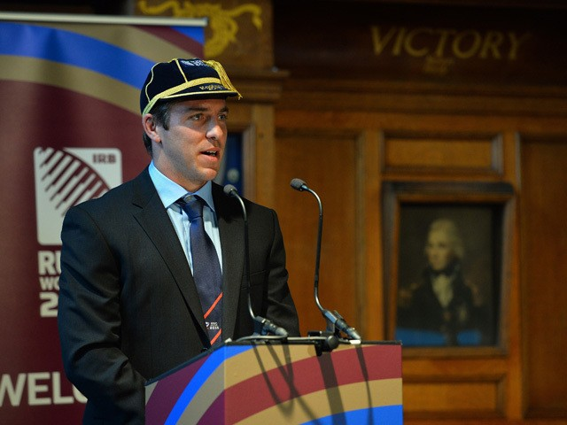 The USA rugby union captain Chris Wyles gives a speech in the Ward Room of the HMS Nelson building in Portsmouth, southern England on September 13, 2015, at their official Welcoming Ceremony for the 2015 Rugby Union World Cup that begins on September 18,